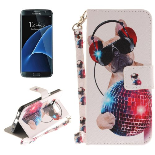 For Galaxy S 8 + Fashion Dog Pattern Leather Case with Holder, Card Slots, Wallet & Lanyard