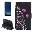 For Galaxy S 8 + Black Butterfly Leather Case with Holder, Card Slots, Wallet & Lanyard