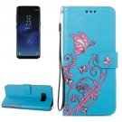 For Galaxy S 8 + Blue Voltage Leather Case with Holder, Card Slots, Wallet & Lanyard