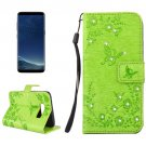For Galaxy S 8 + Green Flowers Pattern Leather Case with Holder, Card Slots, Wallet & Lanyard