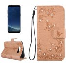For Galaxy S 8 + Gold Flowers Pattern Leather Case with Holder, Card Slots, Wallet & Lanyard