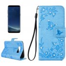 For Galaxy S 8 + Blue Flowers Pattern Leather Case with Holder, Card Slots, Wallet & Lanyard