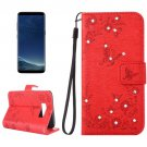 For Galaxy S 8 + Red Flowers Pattern Leather Case with Holder, Card Slots, Wallet & Lanyard