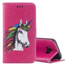 For Galaxy S 8 + Magenta Unicorn Pattern Flip Leather Case with Holder, Card Slots & Wallet
