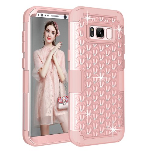 For Samsung Galaxy S8 + Pink Drop proof 3 in 1 Diamond Silicone sleeve Protective Case
