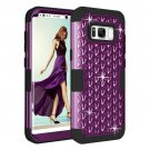 For Samsung Galaxy S8 + Dark Purple Drop proof 3 in 1 Diamond Silicone sleeve Protective Case