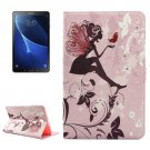 For Tab A 10.1 (2016)/P580 Silhouette Pattern Diamond Flip Leather Case with Holder
