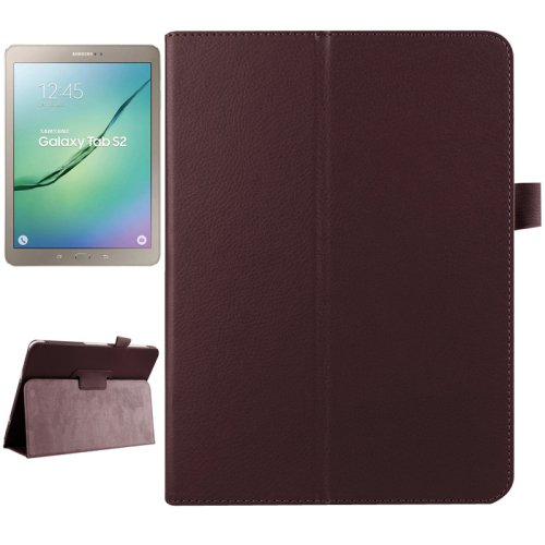 For Tab S2 9.7 T815 Brown Litchi Texture Flip Smart Cover Leather Case with 2-fold Holder