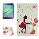 For Tab S2 9.7 T815/810 Relaxing Girl Pattern Diamond Encrusted Leather Case with Holder