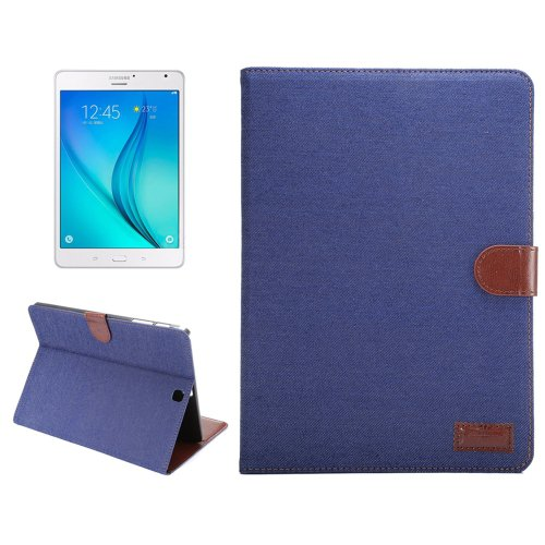 For Tab S2 8.0 T715 Dark Blue Denim Surface PU Leather Case with Holder, Card Slots & Wallet