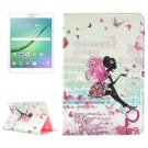 For Tab S2 8.0 T715/710 Butterfly Fairy Pattern Diamond Encrusted Leather Case with Holder