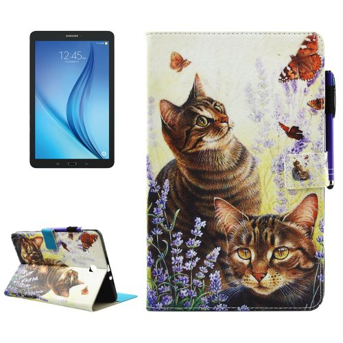 For Tab E 9.6 T560 Cats Smart Cover Leather Case with Holder, Card/Pen Slots & Wallet