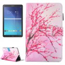 For Tab E 9.6 T560 Peach Blossom Pattern Leather Case with Holder, Card/Pen Slots