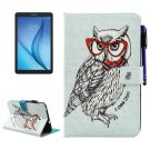 For Tab E 8.0 T377 Glasses Owl Pattern Smart Cover Leather Case with Holder, Card/Pen Slots & Wallet