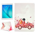 For Galaxy Tab A 9.7 T550 Girl in car Pattern Diamond Encrusted Flip Leather Case with Holder
