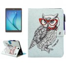 For Tab A 9.7 T550 Glasses Owl Pattern Smart Cover Leather Case with Holder, Card/Pen Slots & Wallet