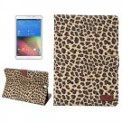 For Galaxy Tab A 8.0 Yellow Leopard Pattern Leather Case with Holder, Card Slots & Wallet