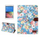 For Galaxy Tab A 8.0 Blue Flower Cloth Pattern Leather Case with Holder, Card Slots & Wallet