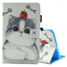 For Tab A 8.0 / T380/5 Tomato and Cat Pattern Flip Leather Case with Holder & Card Slots