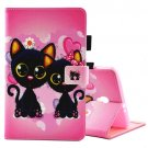 For Tab A 8.0 / T380/5 Two Cats Pattern Flip Leather Case with Holder & Card Slots