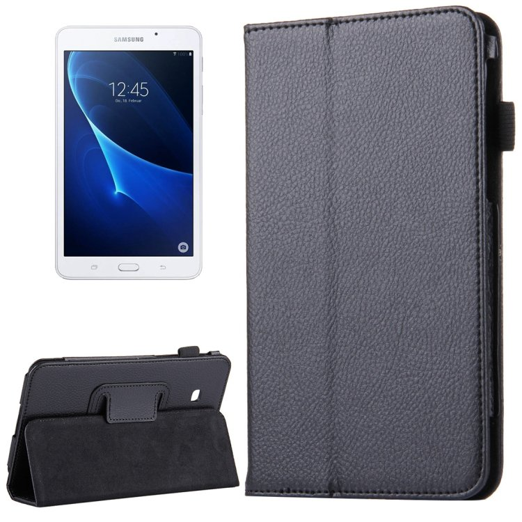 For Tab A 7.0 / T280 Litchi Texture Magnetic Black Flip Leather Case with Holder
