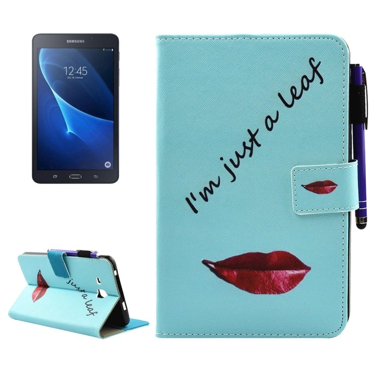 For Tab A 7.0 (2016) Lips  Smart Cover Leather Case with Holder, Wallet & Card/Pen Slots