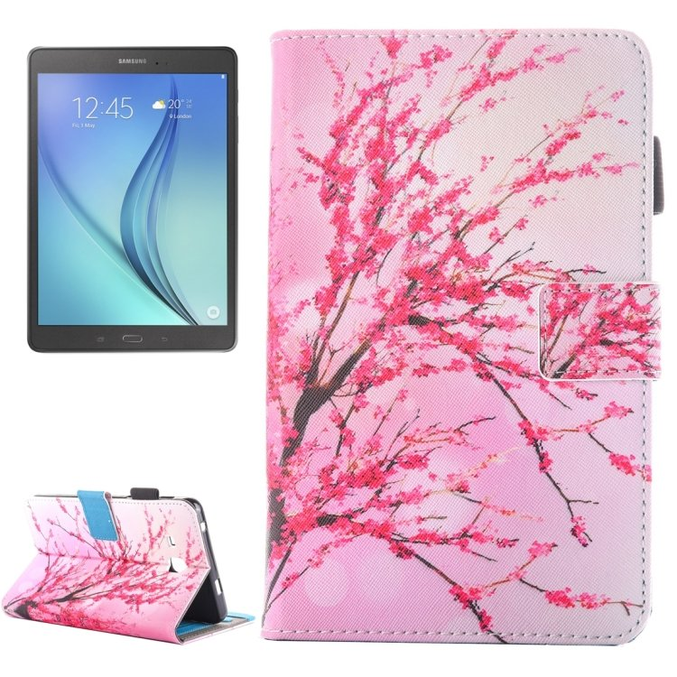 For Tab A 7.0 (2016) Blossom Pattern Leather Case with Holder & Card/Pen Slots