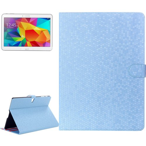 For Galaxy Tab S 10.5 / T800 Blue Honeycomb Texture Flip Leather Case with Holder