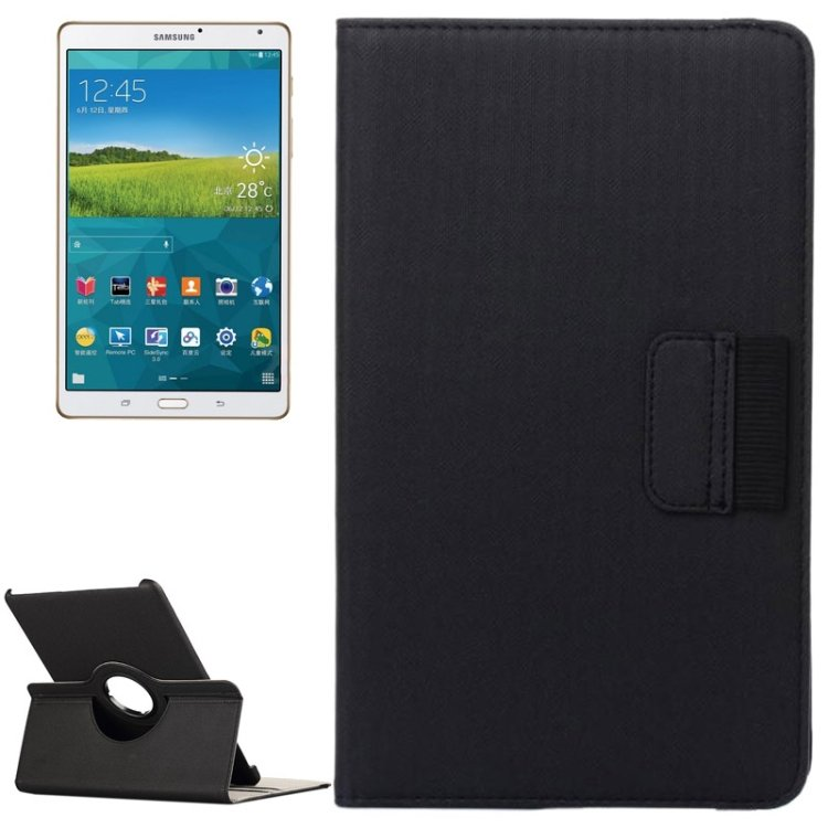 For Tab S 8.4 / T700 Black Cloth Leather Case with Card Slot, Wallet & Rotating Holder
