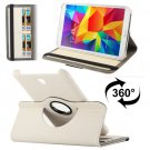 For Tab 4 8.0 / T330 White Denim Texture Leather Case with Card Slots & Rotatable Holder