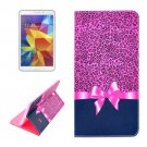 For Tab 4 8.0 / T330 Pink Leopard Pattern Horizontal Flip Leather Case with Holder