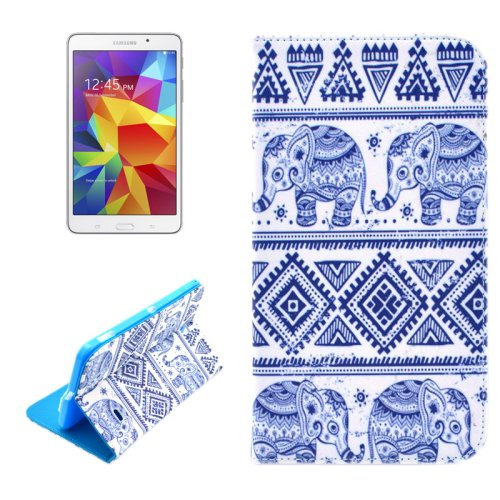For Tab 4 7.0 / SM-T230 Elephant Pattern Horizontal Flip Leather Case with Holder