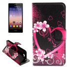 For Huawei Ascend G7 Heart-shaped Pattern Flip Leather Case with Holder & Card Slotst