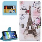 For Huawei Y6 Scale Eiffel Tower Pattern Flip Leather Case with Holder, Card Slots & Wallet