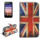 For Huawei Ascend Y550 UK Flag Pattern Flip Leather Case with Holder, Card Slots & Wallet