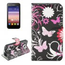For Huawei Ascend Y550 Flowers Pattern Flip Leather Case with Holder, Card Slots & Wallet