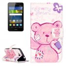 For Huawei Y6 Pro Pudding Bear Pattern Leather Case with Holder, Card Slots & Wallet