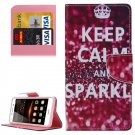 For Huawei Y5 II Keep calm Pattern Leather Case with Holder, Card Slots & Wallet