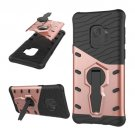 For Galaxy S9 Rose Gold TPU + PC Shockproof Back Case with Rotatable Holder
