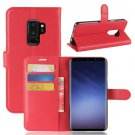 For Galaxy S9 + Red Litchi Flip Leather Case with Holder, Wallet & Card Slots