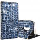 For Galaxy S 9 + Blue Crack Sequins Leather Case with Holder & Card Slots