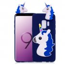 For Galaxy S 9 + Navy blue 3D Unicorn Pattern TPU Protective Back Cover Case