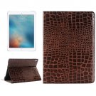 For iPad Pro 9.7 Brown Crocodile Texture Leather Case with Holder, Card Slots & Wallet