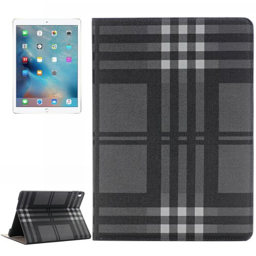For iPad Pro 9.7 Gray Stripes Pattern Flip Leather Case with Holder, Card Slots & Wallet