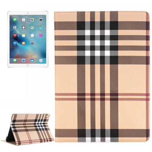 For iPad Pro 9.7 Pink Stripes Pattern Flip Leather Case with Holder, Card Slots & Wallet
