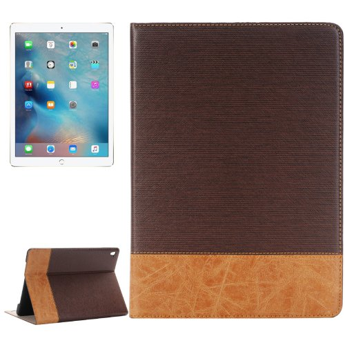 For iPad Pro 9.7 Coffee Cross Texture Flip Leather Case with Holder, Card Slots & Wallet