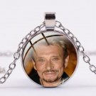 Chain with round glass pendant Johnny Hallyday N ° 13 - Delivery ~ 12/18 days