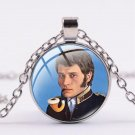 Chain with round glass pendant Johnny Hallyday N ° 14 - Delivery ~ 12/18 days