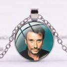 Chain with round glass pendant Johnny Hallyday N ° 15 - Delivery ~ 12/18 days