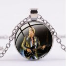 Chain with round glass pendant Johnny Hallyday N ° 16 - Delivery ~ 12/18 days